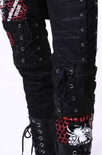 Gothic Punk Rock Corset Laceup Honeycomb Knee Guard Gear Pants Jeans