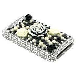 Apple iPhone 3GS 3G Black/ White Rose Rhinestone Hard Case