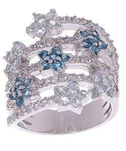 Rocks Sterling Silver Multicolor Topaz Flower Ring