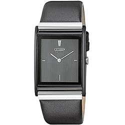 Citizen Mens Eco Drive Black Leather Strap Watch