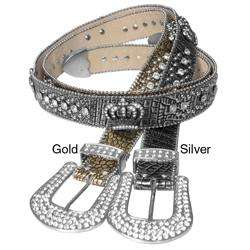Journee Collection Womens Rhinestone and Crown Accent Belt