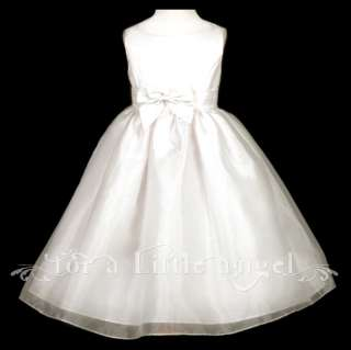 New SATIN ORGANZA FLOWER GIRL DRESS with BOWS and SASH