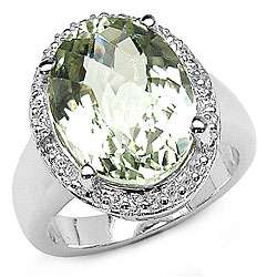 Sterling Silver Green Amethyst and White Topaz Ring