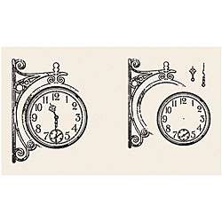 Tattered Angels Screen Prints Tattered Traveler Clock Clear Stamp