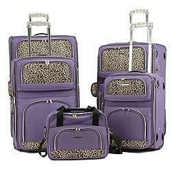 Rockland Lavender Leopard Print 5 piece Luggage Set