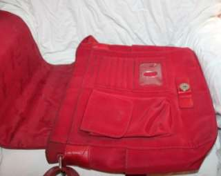 FOSSIL Large Red Soft Pebbled Leather Cross Body Messenger Bag Purse