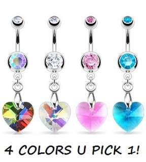BELLY NAVEL RING GEM CZ DANGLE BUTTON PIERCING JEWELRY B565