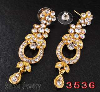 clear gold plated bridal Necklace Earring set romanticism2012