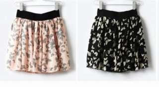 NWT Korean Lady Mini Skirt Very Light Yellow #Butterfly