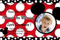 MINNIE MOUSE HOT PINK DOTS POLKA ZEBRA BIRTHDAY PARTY INVITATION BABY