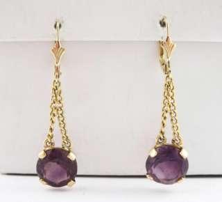 Fine Vintage 1950s Pr Estate 14K Gold Amethyst Dangle Earrings