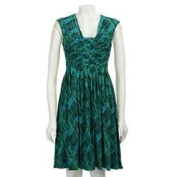 Calvin Klein Womens V neck Ruche Front Printed Dress  Overstock