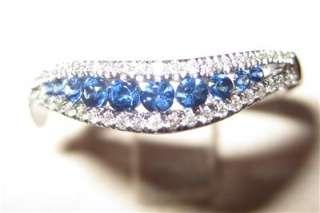 SAPPHIRE AND DIAMOND RING, 14 CARAT WHITE GOLD