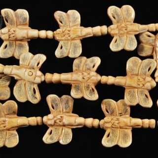 Y0295 Carved ox bone dragonfly loose beads 14.8