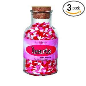 Dean Jacobs Hearts Glass Jar with Cork, 3.8 Ounce (Pack of 3)