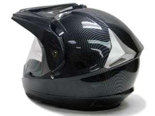 Carbon Motocross Dual Sport ATV Hybrid Helmet +Shield~L