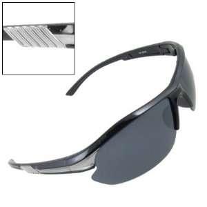 Como Semi Rim Rectangle Lens Sports Sunglasses Black Gray