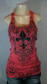 VOCAL TANK CRYSTAL FLEUR DE LIS IN CORAL ALL SIZES 8079T