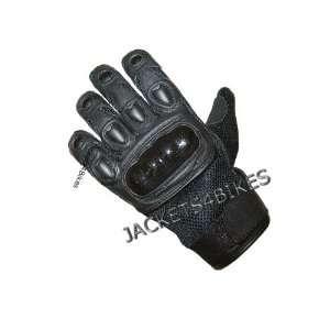 Womens Black Leather Mesh Motorcycle Kevlar Gloves L