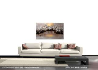 ORIGINAL abstract painting modern fine art landscape trees forest lake