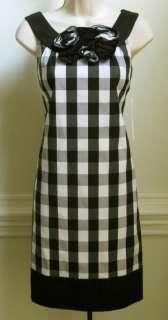 Maggy London Womens Sleeveless Dress, Size 6, Black/White/Gray, New