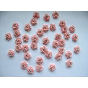 Nail Art 3d 40 Pieces Pink Rose/Rhinestone for Nails, Cellphones 1.2cm