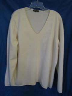 TESORI WOMAN Ivory/White V NECK CASHMERE SWEATER Thick & Soft 1X/2X