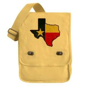 Messenger Field Bag Yellow Texas Flag Texas Shaped