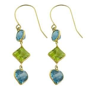 Cttw Blue Topaz, Peridot 14 Karat Yellow Gold Drop Earrings Jewelry