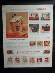 Original 1957 Vintage Singer Slant O Matic Sewing Machine Ad