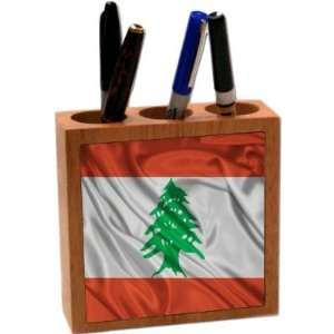 Rikki KnightTM Lebanon Flag 5 Inch Tile Maple Finished