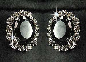 Wedding Bridal Bridesmaids Black Crystals Diamante Necklace Earrings