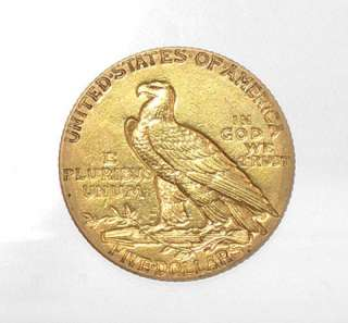 1912 INDIAN HEAD HALF EAGLE SOLID GOLD USA $5 COIN