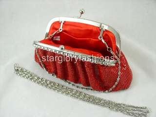 Red Hot Metallic Evening Clutch Full Jeweled Frame