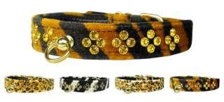 New Faux Animal Print Crystal Diamante Dog Collars
