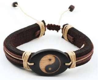 Trendy Genuine Leather Bracelet with Yin Yang Design