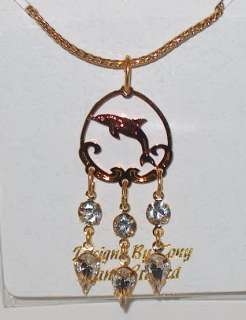 RARE UNIQUE DOLPHIN GOLD CRYSTAL DANGLE EARRINGS JEWELRY FREE