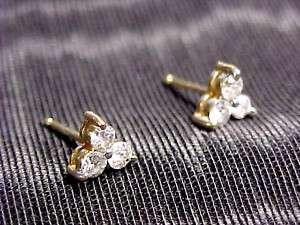 ESTATE 14 K GOLD DIAMOND PIERCED EARRINGS BIN OFFER