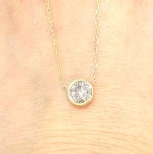 Gold Round Cut Real White Diamond Solitaire Pendant Necklace
