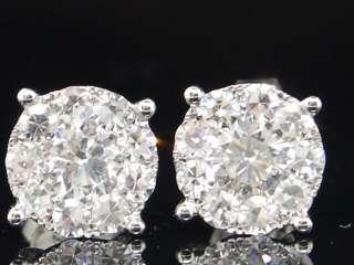 MENS LADIES 14K WHITE GOLD 1C DIAMOND VS2 STUD EARRINGS