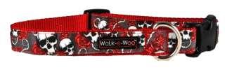 Dog Collar Walk e Woo Red Skull and Roses tattoo sz. XL