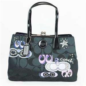 Coach 17575 Signature Applique Frame Carryall Black Tote Bag Purse NWT