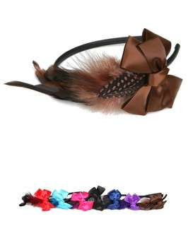 Feather Headband Black Red Fuchsia Brown Purple Teal Blue BNWT