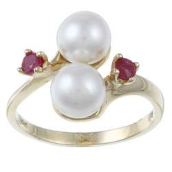 Pearls For You 10k Gold Akoya Pearl and Ruby Ring (6.5 7 mm