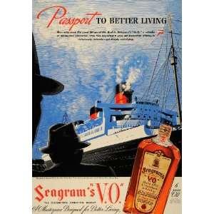 1938 Ad Cunard White Star Cruise Ship Seagrams Whisky