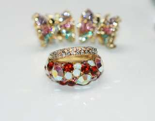 Swarovski Crystal 2 Layer 14K Gold Plated Ring Size 13
