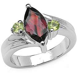 Sterling Silver Garnet and Peridot Ring