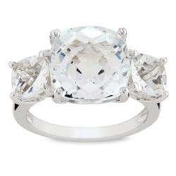 Sterling Silver White Topaz 3 stone Ring
