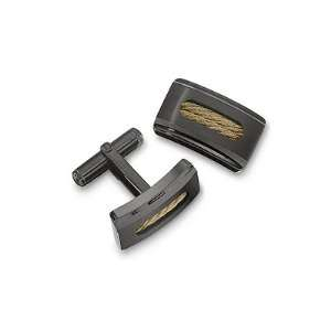 Cufflinks in Black Ion Stainless Steel with Gold Color Cable Inlay and