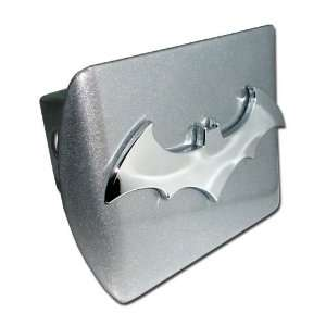 Batman Brushed Silver and Chrome 3D Bat Emblem Metal Trailer Hitch